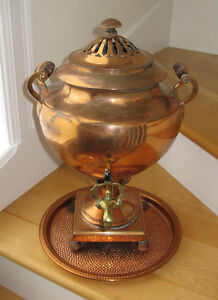 Antique British Victorian Copper Hot Water Coffee Boiler w/ Tray