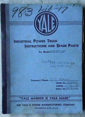 Vintage 1953 Yale Electric Forklift Model K51-at-100 Service Parts Manual