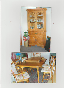 **Solid Maple Dining Set & 6 Chairs with Corner Buffet & Hutch**
