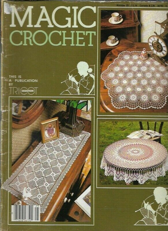 Magic Crochet No 25 Jun 1983 Bedspread With Matching Pillow LR Ensemble More - $19.99