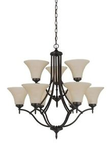 9-Light Chandelier in Bronze or Pewter 31182-710