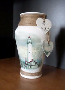 Hand Crafted Lighthouse Glass Vase