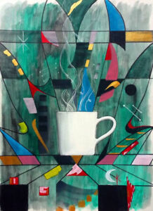 Abstract Coffee Art Framed