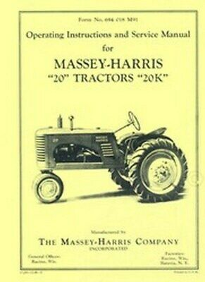 Massey Harris 20 20k Tractor Operators Service Manual