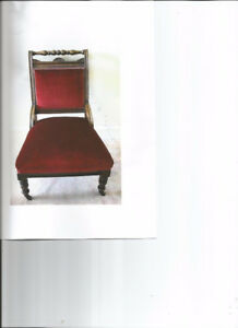 Antique Red Velvet Side Chair