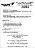 Vision Credit Union Ltd. Experienced Lender Wanted