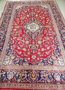 Kashan Persian Rug,Low Pile,10 x 6.6 ft,Red,Navy Blue,Beige