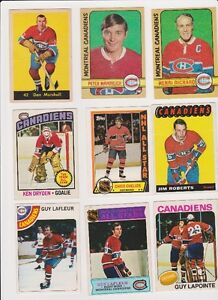 Nine Montreal Canadiens Hockey cards