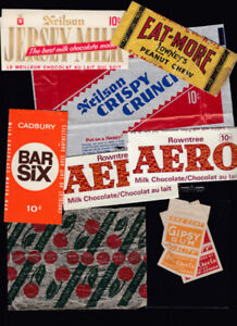 Chocolate, Candy, Gum Wrappers, Counter Boxes and Advertising