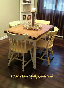Beautifully reclaimed kitchen table and 4 chairs