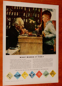 1957 WATCHMAKERS OF SWITZLERAND AD WITH ROCKWELL PAINTING