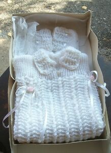 Hand Made Baby Girl Sweater and Booties
