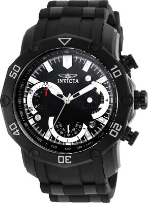 Invicta 22799 Gent's Chrono Black Dial Steel & Silicone Band Watch ()