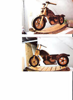 Custom Built Oak Wood Motorcycle Rocker