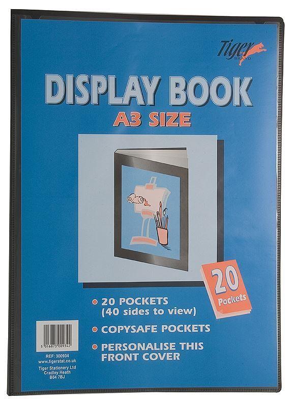 A3 Premium Black Cover Display Book Presentation Folder Portfolio - 20 Pocket