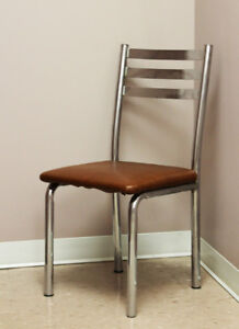 Low Priced Metal & Brown Faux Leather Chairs