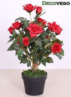 Rose Rosenbusch Rosenstock Künstliche Pflanze Rot Echtholz 65cm Decovego