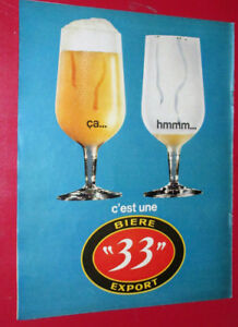 """COOL ANONCE 1967 BIERE """"33"""" EXPORT VINTAGE FRENCH BEER AD - 60S"""