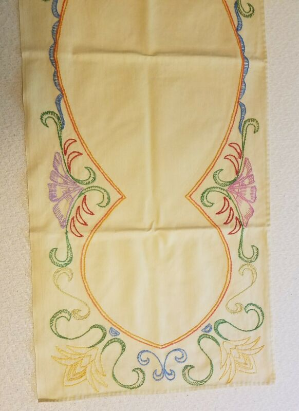 """Vintage Cream Mid Century Table Runner Placemat Embroidered 14"""" x 37"""""""