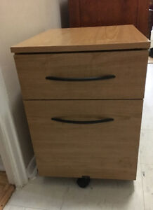 Pressed wood 2 drawer filing cabinet on wheels with folders