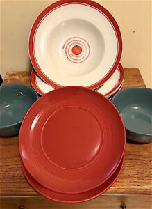 Four Pasta plates and 2 bowls