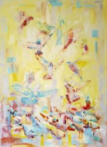 "32″ x 44″ Original Oil Painting ""Morning Birds"""