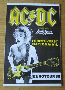 Vintage AC/DC Eurotour 88 Laminated Tour Poster
