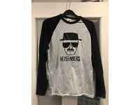 Breaking Bad character Heisenberg black baseball long sleeve shirt Mens Medium/Womens size 10/12