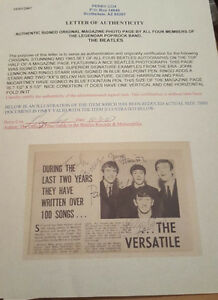 THE BEATLES -MAGAZINE PAGE - SIGNED by ALL 4 & Authenticated! Peterborough Peterborough Area image 2