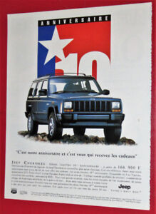 FRENCH 1998 JEEP CHEROKEE 10TH ANNIVERSARY EURO AD - ANONCE
