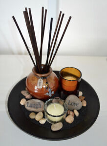 Home Decor Reed Diffuser Tray Candles Stones Essential Oils