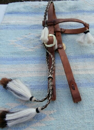 Cowboy Buckaroo Harness Leather Headstall Hitched Horsehair Mule Tail Tassels