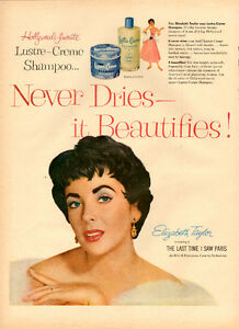 Large 1954 full-page color Lustre-Creme ad with Elizabeth Taylor