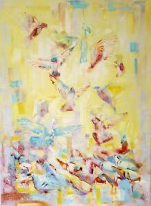 "32″ x 44″ Original Oil Painting ""Morning Birds"""