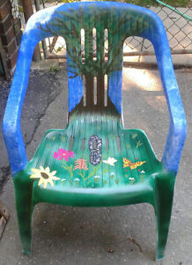 Unique Hand Painted Resin Deck Chairs -- $25 for the Pair London Ontario image 4