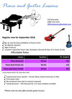 Brampton Affordable Piano and Guitar lessons