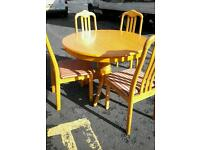 Honey pine table 4 chairs