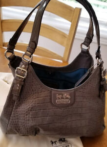Gray Coach 18761 Madison Embossed Croc Leather Maggie Bag