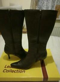 Ladies brown long boots size 5