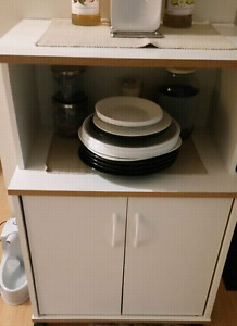 White Microwave Stand