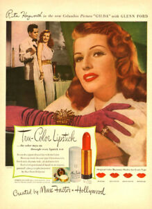 1946 color magazine ad for Max Factor with Rita Hayworth