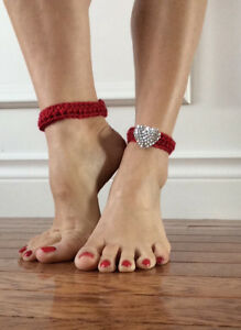 Heart embellished ankle cuffs