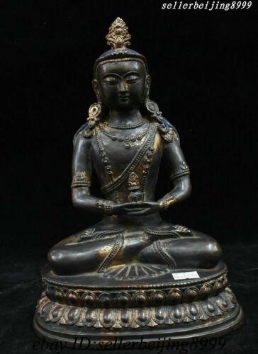 "10""China Tibet Buddhism Bronze Gilt Amitayus Longevity God Goddess Buddha Statue"