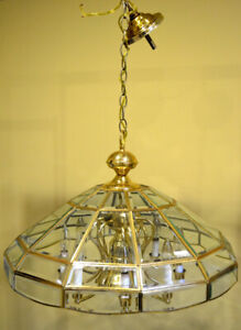 Large Vintage Brass and Beveled Glass Dome Pendant Chandelier