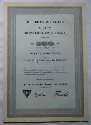 500 Reichsmark Aktie Junkers Flugzeug- und Motorenwerke München Dez 1960(120962)