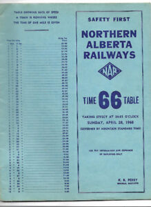 Northern Alberta Railways, Time Table 66 (1968)