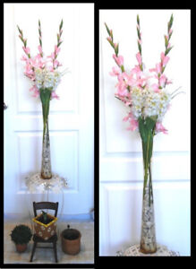 On hold large white silk flower arrangement home dcor accents tall flower arrangement with tall glass vase gorgeously sweet mightylinksfo