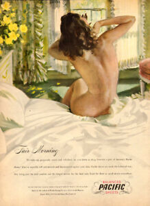 1946 large (10 ¼ x 14) color magazine ad for Pacific Sheets