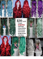 BRAND NEW Deluxe Long Curly 80cm Solid Color Cosplay Wigs
