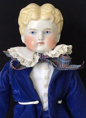 """19-1/2"""" ANTIQUE BLONDE CHINA HEAD DOLL DRESSED AS BOY, 1880"""
